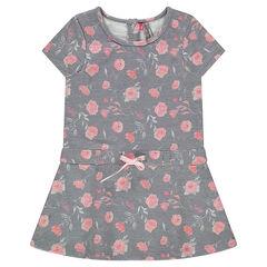 Robe manches courtes en molleton imprimée roses all-over