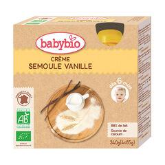 Pack de 4 gourdes bio crème semoule vanille , Babybio