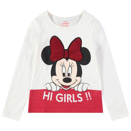 T-shirt manches longues avec print Minnie Disney et noeud en sequins magiques