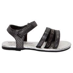 Nu-pieds fantaisie effet croco noir et argent