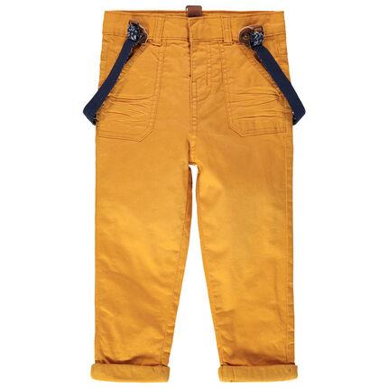 Pantalon en coton à bretelles élastiquées amovibles