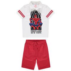 Ensemble avec polo print Spiderman et bermuda rouge