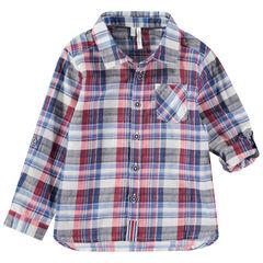 Chemise manches longues retroussables à carreaux et poche