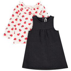 Ensemble t-shirt manches longues imprimé et robe pour bébé fille , Orchestra