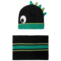 Ensemble imprimé bonnet snood motif dinosaure