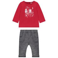 Ensemble avec t-shirt rouge print bateau et pantalon gris chiné