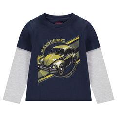 Tee-shirt manches longues effet 2 en 1 avec print ©Transformers