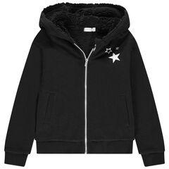 Junior - Gilet en molleton à capuche doublé sherpa print étoiles