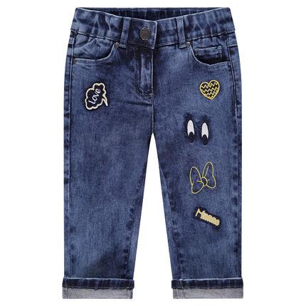 Pantacourt en jeans avec badges brodés Minnie ©Disney