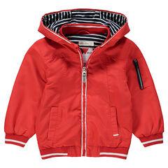 ad90407a45e7e Coupe-vent uni à capuche avec doublure en jersey