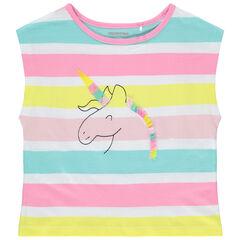 T-shirt manches courtes rayé motif licorne brodée