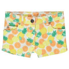Junior - Short en twill imprimé tropical