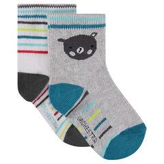 Lot de 2 paires de chaussettes avec motif ours / rayures