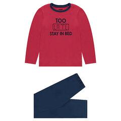 Junior - Pyjama en jersey bicolore avec message printé