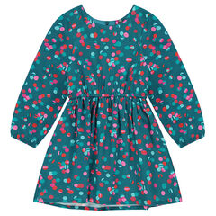 Robe manches longues à pois all-over