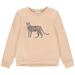 Sweat en molleton motif léopard en velours