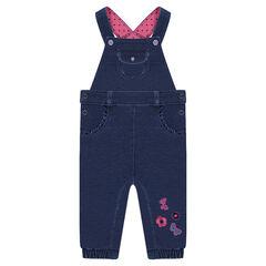 Salopette longue en molleton effet jeans avec motifs brodés