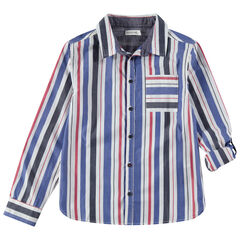 Junior - Chemise manches longues à rayures verticales et poche