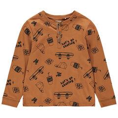T-shirt manches longues en jersey avec imprimé esprit skateboard