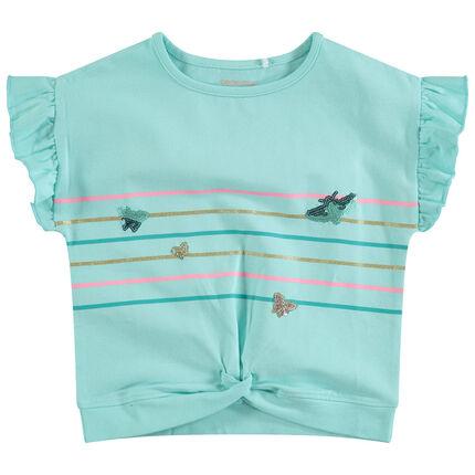 Tee-shirt manches courtes volantées avec rayures et papillons en sequins