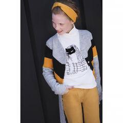 Junior - Gilet long en tricot chiné avec bandes contrastées