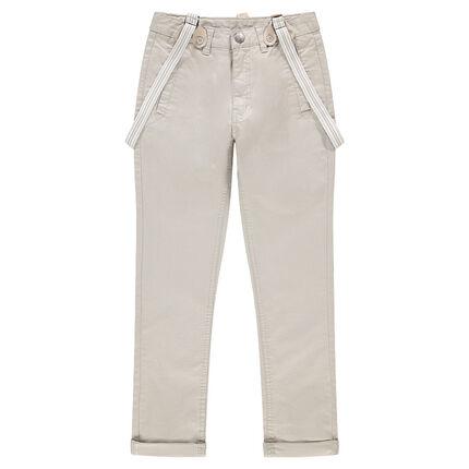 Junior - Pantalon uni en coton avec bretelles rayées amovibles