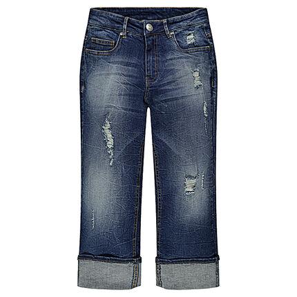 Junior - Pantacourt en jeans effet used et crinkle