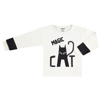 Tee-shirt manches longues avec sequins noirs et chat HALLOWEEN