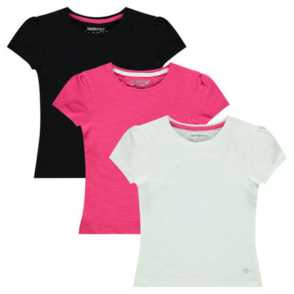 Junior - Lot de 3 tee-shirts manches courtes coloris uni
