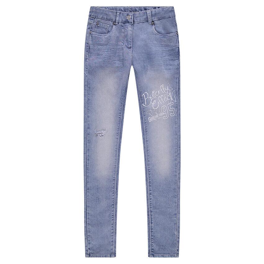 Junior , Jeans effet imitation molleton used et crinkle avec texte printé