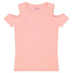 Junior - Tee-shirt manches courtes chiné à épaules ajourées
