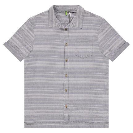 Junior - Chemise manches courtes rayée en coton fantaisie