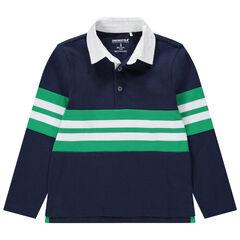 Junior - Polo manches longues en jersey à bandes contrastées