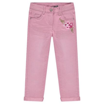 Pantalon en twill effet crinkle à fleurs brodées