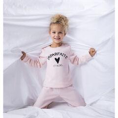 Pyjama en polaire rose à message pour enfant fille , Orchestra