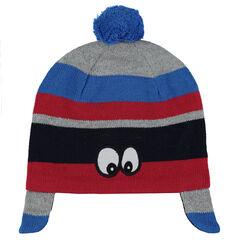 Bonnet en tricot avec rayures contrastées et yeux patchés