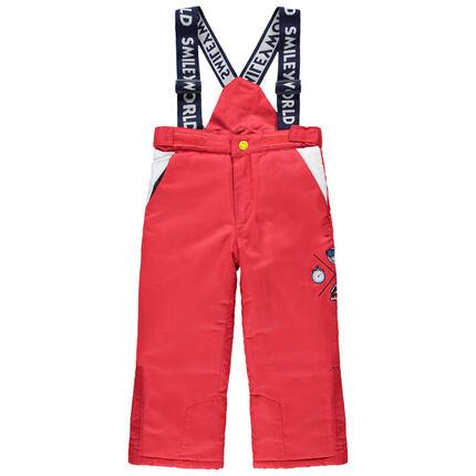 Pantalon de ski imperméable à bretelles avec broderies Smiley