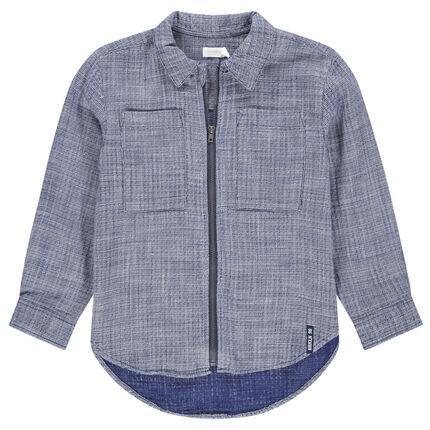 Chemise manches longues avec ouverture zippée