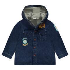 Chemise manches longues à capuche avec badges ©Smiley
