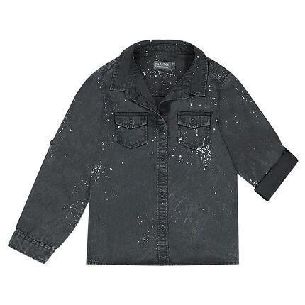 Junior - Chemise en Tencel à manches rétractables avec effet de taches de peinture