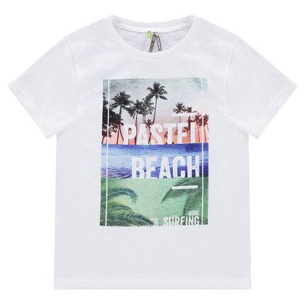 Junior - Tee-shirt manches courtes avec paysage tropical printé