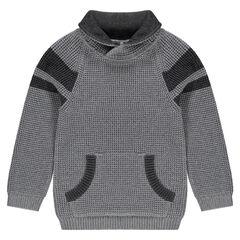 Pull en tricot manches longues avec poche kangourou
