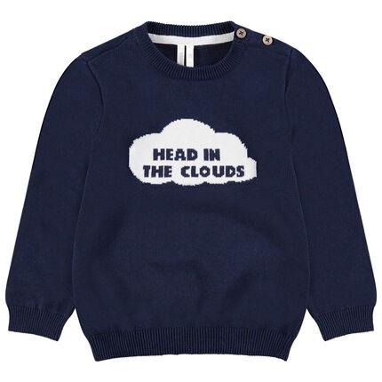 Pull en tricot avec motif fantaisie sur le devant et ouverture épaule