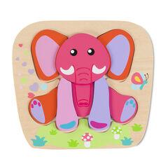 Puzzle éducatif motif éléphant - Framboise