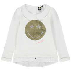Sweat en molleton effet 2 en 1 motif Smiley en sequins magiques
