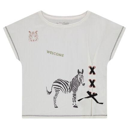 Tee-shirt manches courtes forme boîte avec laçage et zèbre printé
