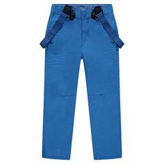 Pantalon en twill à bretelles élstiquées amovibles