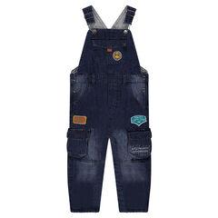 Salopette en jeans effet used doublée jersey Smiley