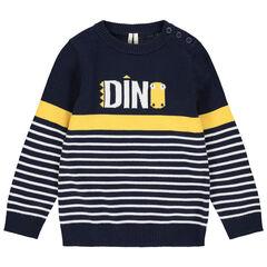 Pull en tricot à rayures et message en jacquard