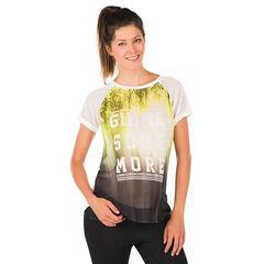 Tee-shirt manches courtes de grossesse imprimé effet voile